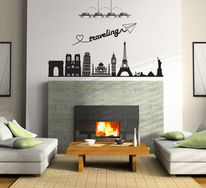 Skyline Cities Wall Sticker Decal Stencil Silhouette ST319