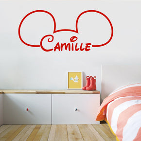 Mickey Mouse Ears Personalized Wall Sticker Decal Stencil Silhouette ST402
