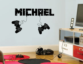 Gamers Controllers Video Game Room Personalized Wall Sticker Decal Stencil Silhouette ST429