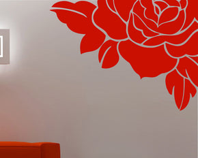CORNER ROSE Wall Sticker Decal Stencil Silhouette ST52