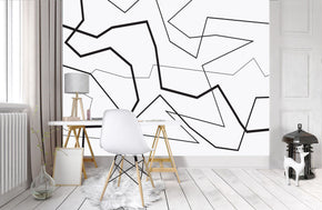 GEOMETRIC LINES Woven Self-Adhesive Removable Wallpaper Modern Mural T01