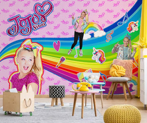 Jojo Siwa Woven Self-Adhesive Removable Wallpaper Modern Mural T135