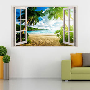 Virgin Island Beach 3D Window Wall Sticker Decal C658