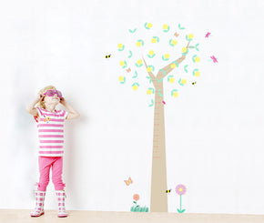 Cartoon Animals Tree Growth Height Chart for Kids Decal Wall Sticker WC106