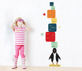 Penguin Colorful Cubes Growth Height Chart for Kids Decal Wall Sticker WC131