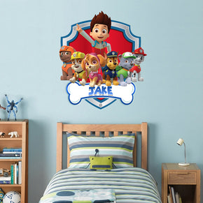 Paw Patrol Characters Personalized Custom Name Wall Sticker Decal 021
