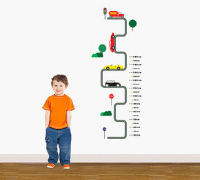 Road Circuit Growth Height Chart for Kids Decal Wall Sticker WC197