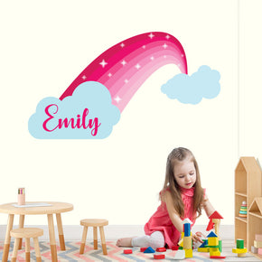 Pink Rainbow Personalized Custom Name Wall Sticker Decal WC201