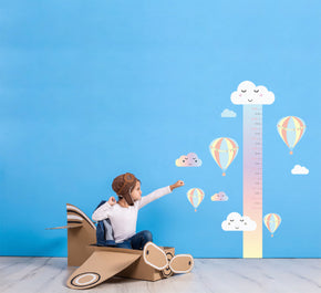 Hot Air Baloon Growth Height Chart for Kids Decal Wall Sticker WC202