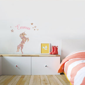 Unicorn Personalized Glitter Effect Custom Name Wall Sticker Decal WC313