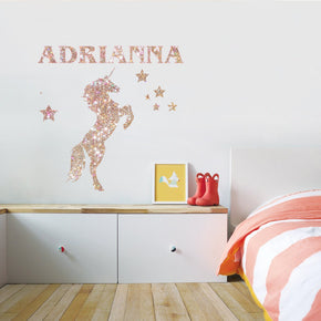 Unicorn Personalized Glitter Effect Custom Name Wall Sticker Decal WC330