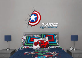 Captain America Shield Personalized Custom Name Wall Sticker Decal WC334