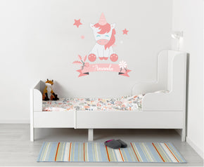 Kids Unicorn Personalized Custom Name Wall Sticker Decal WC85