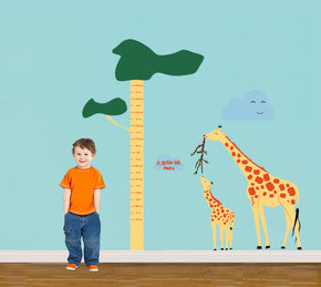 Giraffe Cartoon Growth Height Chart for Kids Decal Wall Sticker WC96