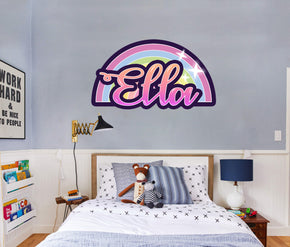 Rainbow Personalized Custom Name Wall Sticker Decal Kids WP154