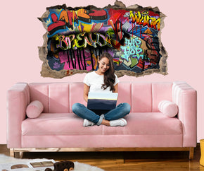 PERSONALIZED Graffiti WALL 3D Smashed Broken Decal Wall Sticker WP173