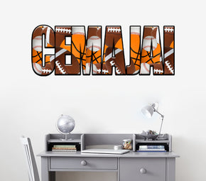 Sports Balls Personalized Custom Name Wall Sticker Decal WP185