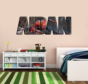 Spider-Man Personnalisé Custom Name Wall Sticker Decal WP19