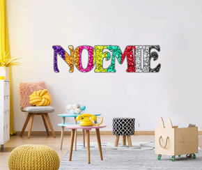 Glitter Rainbow Colorful Personalized Custom Name Wall Sticker Decal WP217