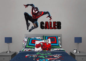 Spider-Man Miles Morales Super Hero Personalized Custom Name Wall Sticker Decal WP221