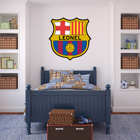 Barcelona FCB Logo Personalized Custom Name Wall Sticker Decal WP228