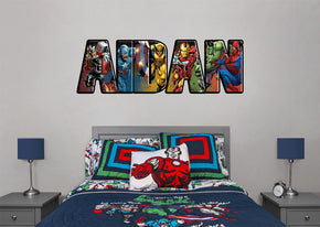 Marvel Super Heroes Personnalisé Custom Name Wall Sticker Decal WP235