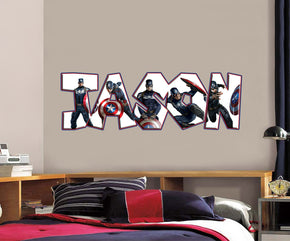 Captain America Personalized Custom Name Wall Sticker Decal WP23