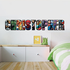 SUPERHERO ALPHABET Personalized Custom Name Wall Sticker Decal WP259
