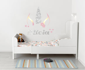 Unicorn Silver Rainbow Personalized Custom Name Wall Sticker Decal WP261