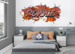 Sports Graffiti Baseball Football Basketball Personalized Custom Name Wall Sticker Decal WP292