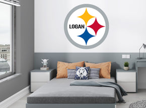 Pittsburgh Steelers Logo Personalized Custom Name Wall Sticker Decal WP299