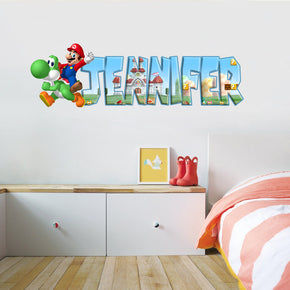 Super Mario Bros Personalized Custom Name Wall Sticker Decal WP37