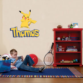 Pikachu Personalized Custom Name Wall Sticker Decal WP46