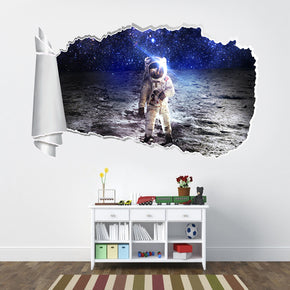Astronaut In Space Moon 3D Torn Paper Hole Ripped Effect Decal Wall Sticker