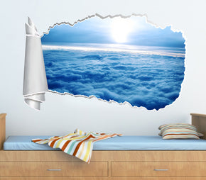 Clouds Sky 3D Torn Paper Hole Ripped Effect Decal Wall Sticker