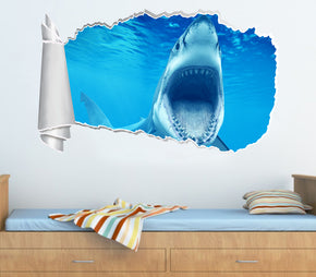 Great White Shark 3D Torn Paper Hole Ripped Effect Decal Wall Sticker