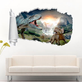 Dinosaurs Fantasy 3D Torn Paper Hole Ripped Effect Decal Wall Sticker