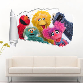 Kids TV Series Characters 3D Torn Paper Hole Ripped Effect Decal Wall Sticker WT206