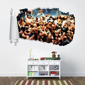 WWE Wrestlers 3D Torn Paper Hole Ripped Effect Decal Wall Sticker WT210