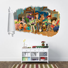 Toy Story Buzz Woody 3D Torn Paper Hole Ripped Effect Decal Wall Sticker WT241