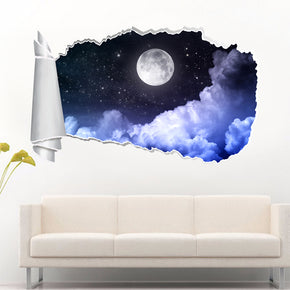 Full Moon Stary Night 3D Torn Paper Hole Ripped Effect Decal Wall Sticker