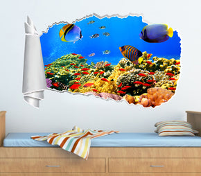Tropical Fish Coral Reef 3D Torn Paper Hole Ripped Effect Decal Wall Sticker
