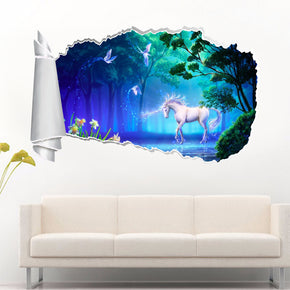 Unicorn Fantasy 3D Torn Paper Hole Ripped Effect Decal Wall Sticker
