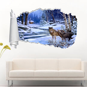 Wolves In Snow 3D Torn Paper Hole Ripped Effect Decal Wall Sticker