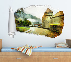 Fantasy Castle Road 3D Torn Paper Hole Ripped Effect Decal Wall Sticker