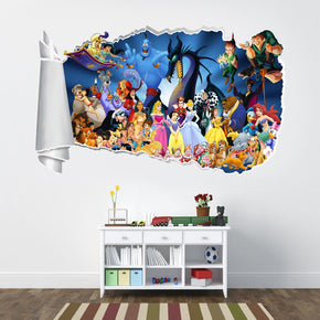 Cartoon Characters 3D Torn Paper Hole Ripped Effect Decal Wall Sticker WT45