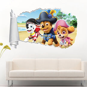 Paw Patrol 3D Torn Paper Hole Ripped Effect Decal Wall Sticker WT474