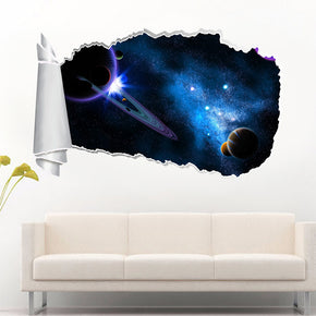 Space Interstellar Stars 3D Torn Paper Hole Ripped Effect Decal Wall Sticker