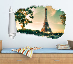 Paris Eiffel Tower 3D Torn Paper Hole Ripped Effect Decal Wall Sticker