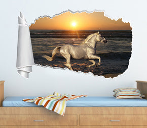 White Horse Beach Sunset 3D Torn Paper Hole Ripped Effect Decal Wall Sticker